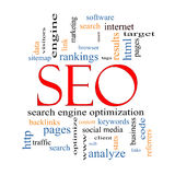 SEO Word Cloud Concept Lizenzfreies Stockfoto