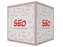 SEO Word Cloud Concept auf einem 3D Würfel Whiteboard Stockfoto