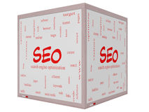 SEO Word Cloud Concept on a 3D cube Whiteboard Stock Photo