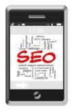 SEO Word Cloud Concept en el teléfono de la pantalla táctil Imagen de archivo libre de regalías