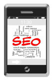 SEO Word Cloud Concept Telefon am Bildschirm- Lizenzfreies Stockbild