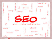 SEO Word Cloud Concept on a Whiteboard Royalty Free Stock Photography