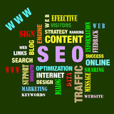 SEO. The word cloud of the S E O - Search Engine Optimization royalty free illustration