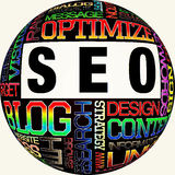 SEO. The word cloud of the S E O - Search Engine Optimization Royalty Free Stock Photography