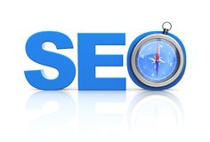 Seo word and compass Stock Photo