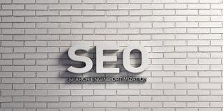 SEO Word in der weißen Backsteinmauer Abbildung der Wiedergabe 3d lizenzfreie abbildung