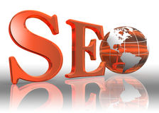 Seo word and earth globe Royalty Free Stock Photography