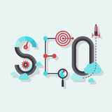 SEO word flat illustration. Flat design modern vector illustration concept of SEO word combined from elements and icons which symbolized a success internet stock illustration