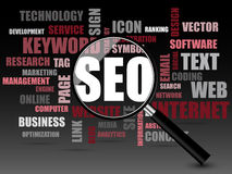 SEO word or tag cloud. SEO or Search Engine Optimization For Website with magnifying glass Stock Image