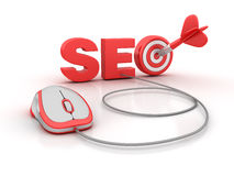 SEO Word with Target and Computer Mouse Stock Photo