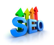 SEO word with upcoming arrows. Stock Image