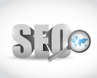 Seo world map review illustration Stock Image