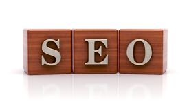 SEO written on wooden cubes royalty free illustration