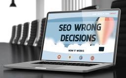 SEO Wrong Decisions - på bärbar datorskärmen closeup 3d Royaltyfri Fotografi