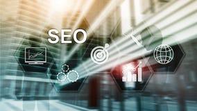SEO - Wyszukiwarka optymalizacja, Cyfrowego marketing i internet technologii poj?cie na zamazanym tle, ilustracji