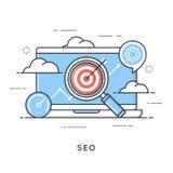 SEO, wyszukiwarka optymalizacja, zadowolony marketing, sieci analityka ilustracja wektor