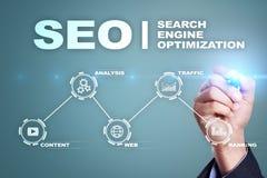 SEO wyszukiwarki optymalizacja, Cyfrowego marketing, Biznesowy internet technologii pojęcie royalty ilustracja