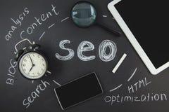 SEO wyszukiwarki optymalizacja pojęcia Powiększać - szkło, zegar, smartphone na czarnym tle z inskrypcją SEO Zdjęcie Royalty Free