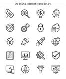 SEO y los iconos de Internet fijaron 1, línea iconos del grueso Foto de archivo libre de regalías