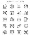 SEO y los iconos de Internet fijaron 2, línea iconos del grueso Fotografía de archivo libre de regalías