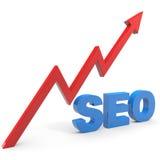 SEO Zeichen mit Diagramm. Stockfoto