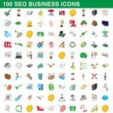 100 seoaffärssymboler uppsättning, tecknad filmstil royaltyfri illustrationer