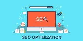 Seoconcept - de strategie van websiteseo De vlakke banner van het ontwerpweb Stock Foto's