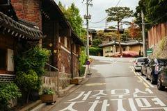 Seoel, het historische district van Bukchon Hanok (Zuid-Korea) Stock Foto