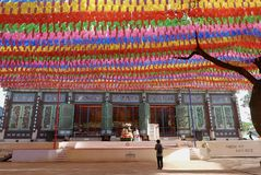 Seoel, 27 Korea-April, 2017: Lantaarns bij Jogyesa-Tempel om de Verjaardag van Boedha te vieren ` s stock foto