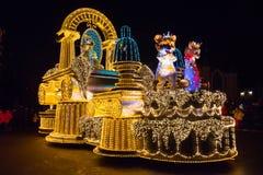 SEOEL, KOREA - DECEMBER 21.2014: Een mooie parade bij nacht Stock Afbeelding