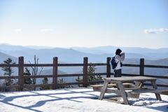Seoel, KOREA - JANUARI 29, 2017: Peple die de berg bekijken Stock Afbeeldingen