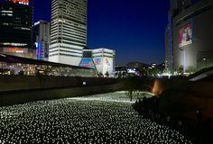 Seoel, 19 Korea-Mei, 2017: LEIDENE Rozen bij Dongdaemun-Ontwerpplein Stock Afbeeldingen