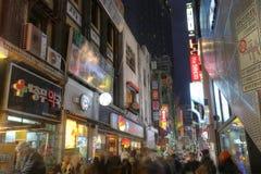 SEOEL, KOREA, 9 NOV.: Myeong-dong werd vermeld als negende het meest ex Stock Afbeeldingen