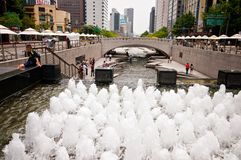 Seoel - kunstmatige rivier Stock Foto's