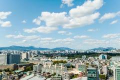 Seoel, Zuid-Korea - 17 Sept., 2017: De foto van het de stadslandschap van Seoel, Zuid-Korea Stock Afbeelding