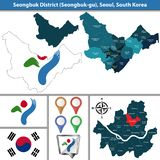Seongbuk District, Seoul City, South Korea. Vector map of Seongbuk District or Gu of Seoul metropolitan city in South Korea with flags and icons vector illustration
