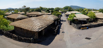 Seongeup Folk Village panorama, Jeju, Korea Royalty Free Stock Photos