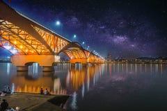 Seongsan bridge at night in Seoul, South Korea royalty free stock photography