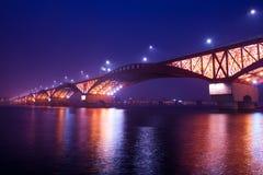 Seongsan bridge at night in korea. stock images