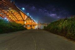 Seongsan bridge at night in Seoul, South Korea stock photo