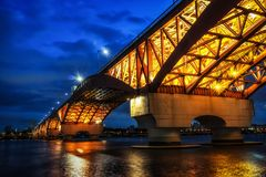 Seongsan Bridge at night Royalty Free Stock Images