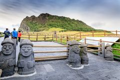 Seongsan Ilchulbong, also called Sunrise Peak and which is a Wor. Ld Heritage Site on Oct 4, 2017 in Jeju island, South Korea royalty free stock images