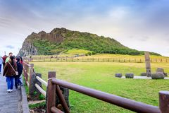 Seongsan Ilchulbong, anche chiamato Sunrise Peak e che è un Wor fotografia stock