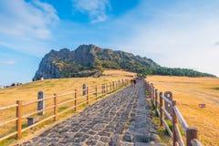 Seongsan Ilchulbong, Jeju ö, Sydkorea Royaltyfria Foton