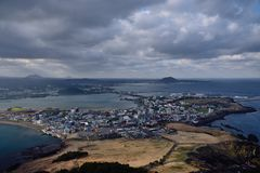 Seongsan-Sonnenaufgang-Spitze, Jeju-Insel stockfoto