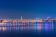 Seongsu bridge at night in korea. royalty free stock image