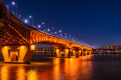 Seongsu bridge at nigth in seou. L,korea Royalty Free Stock Photo