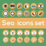 Seopictogrammen met longshadow worden geplaatst die Royalty-vrije Stock Afbeeldingen