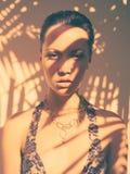 Señora atractiva en leotardo del cordón Foto de archivo libre de regalías
