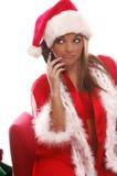 Señora atractiva Santa Cellphone Fotografía de archivo